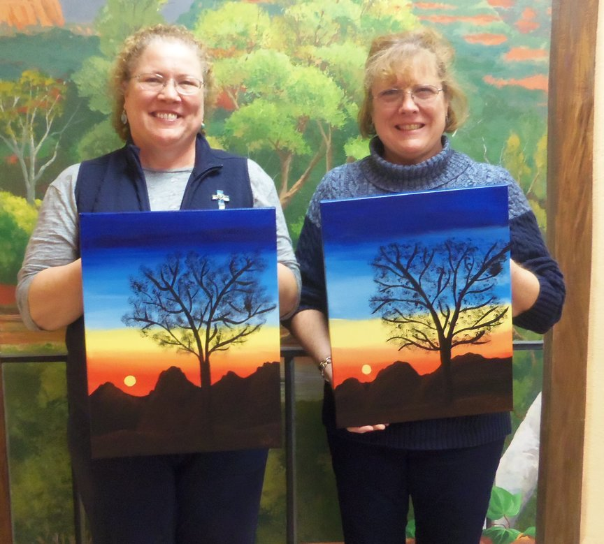 Sisters on vacation in Sedona enjoy painting