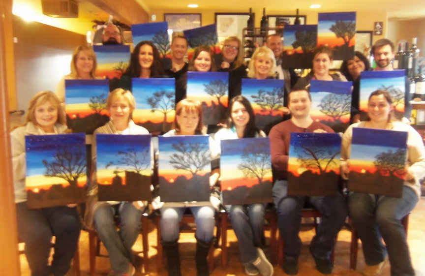Corporate Group's Team Building Paint Along Activity in Sedona