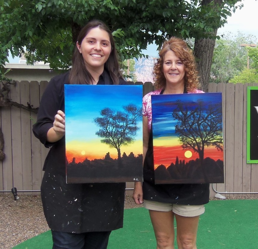 Girls Enjoying social painting in Sedona