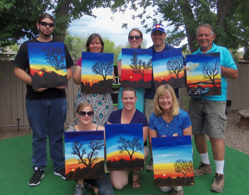 Family Reunion paint-along at Vino Di Sedona
