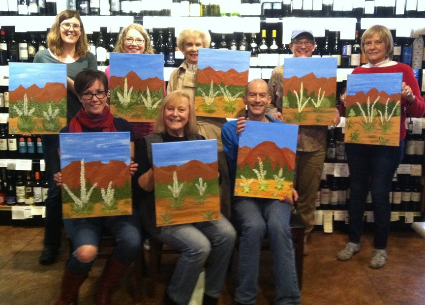 Painting with Paint Along For Fun on Saturday afternoon at Vino Di Sedona