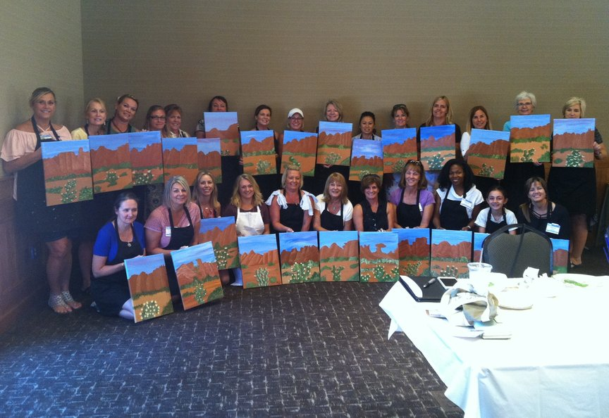 Paint Along For Fun at the Enchantmeent Resort in Sedona for a Corporate Event