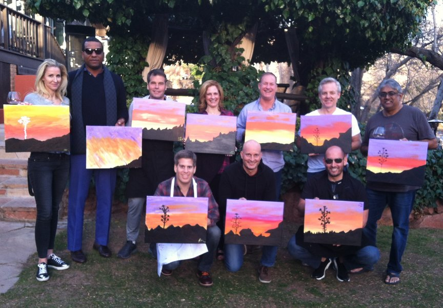 Paint Along For Fun at a corporate event in Sedona at L'Auberge Resort
