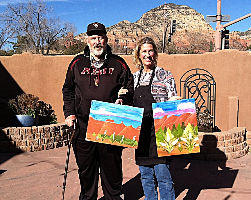 Loving the creative process of social painting while on vacation in Sedona.