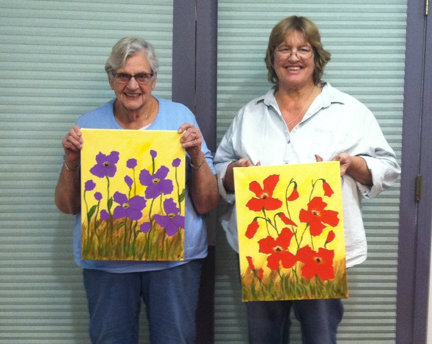 Painting Colorful Poppies at a Sedona Resort