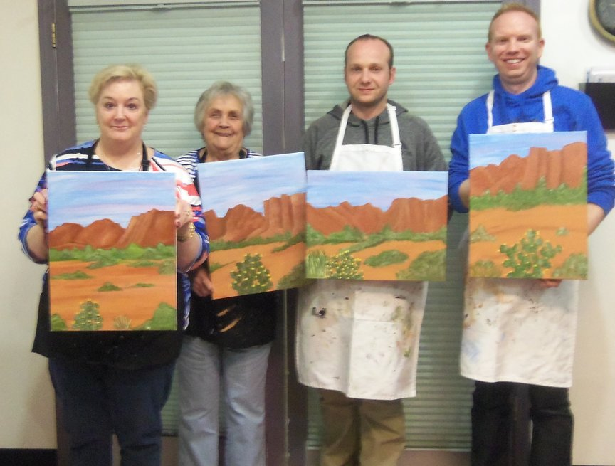 Having fun creating a Sedona landscape in acrylic paints at Paint Along For Fun