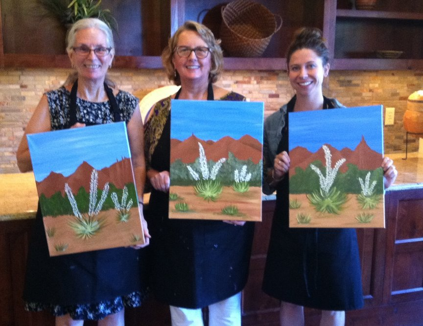 Having fun at the Hyatt's Activity Center in Sedona at a Monday afternoon class with Paint Along For Fun