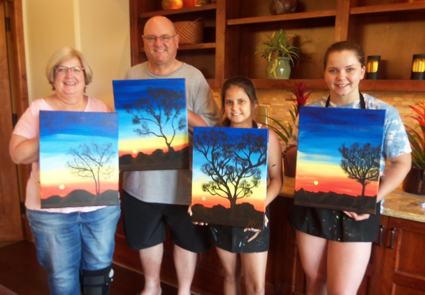 Family Vacation Entertainment with Paint Along For Fun in Sedona