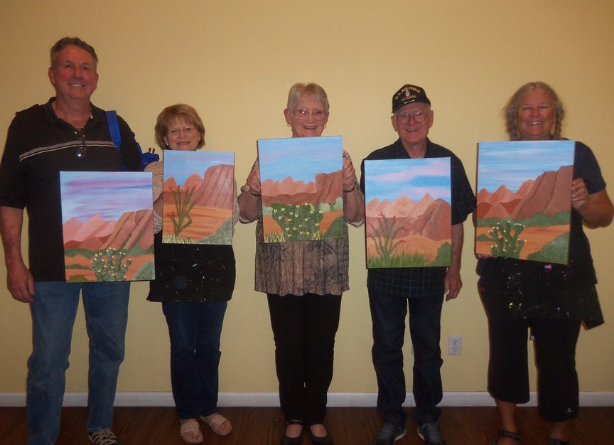 Painting a Sedona Landscape at a Paint Along For Fun Class