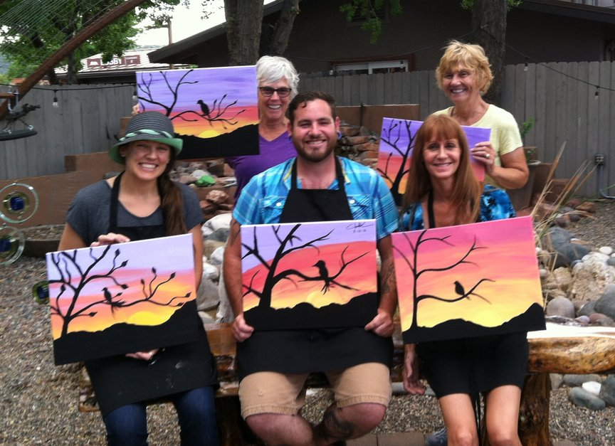 Saturday afternoon paint along fun at Vino Di Sedona
