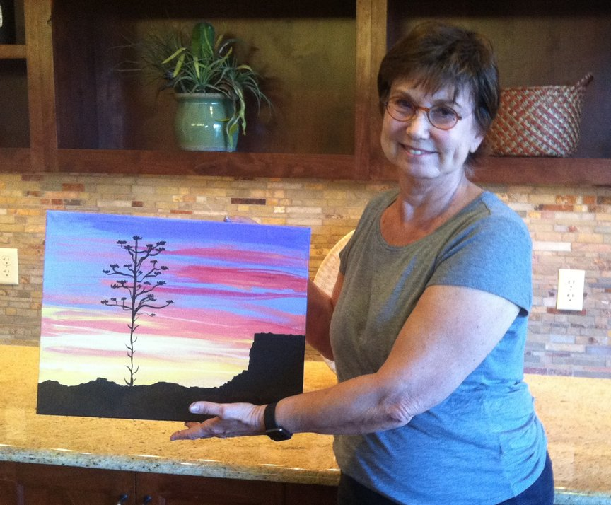 Creating a brilliant sunset with Paint Along For Fun in Sedona