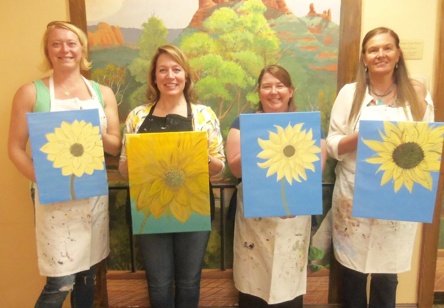 Friends from Nashville and Friends from Crested Butte all paint together in Sedona