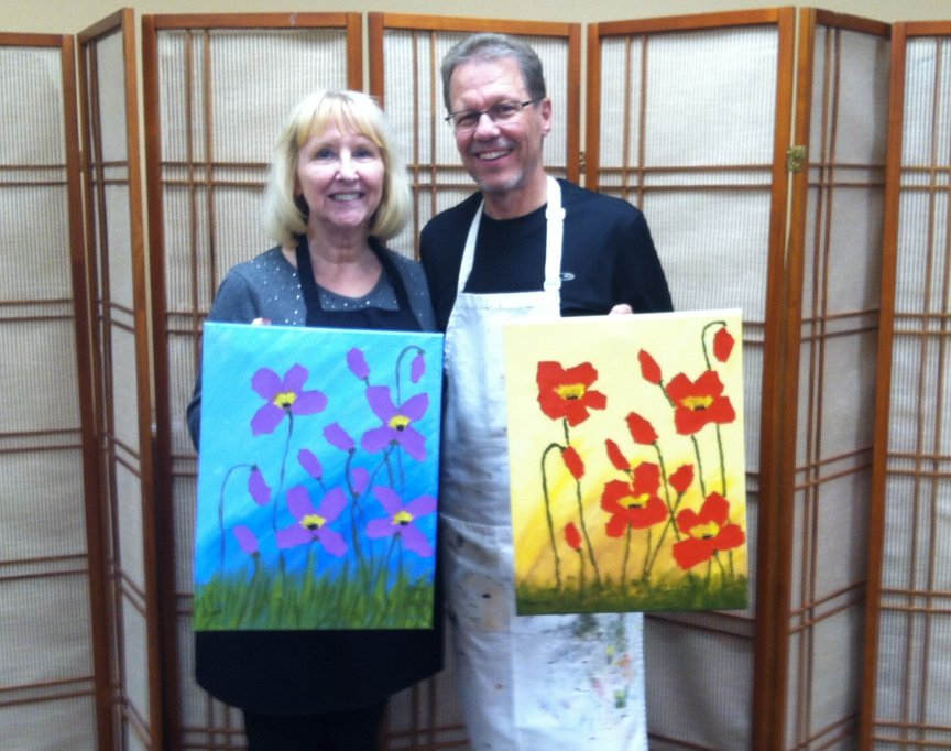 Creating mixed media poppies with Paint Along For Fun in Sedona
