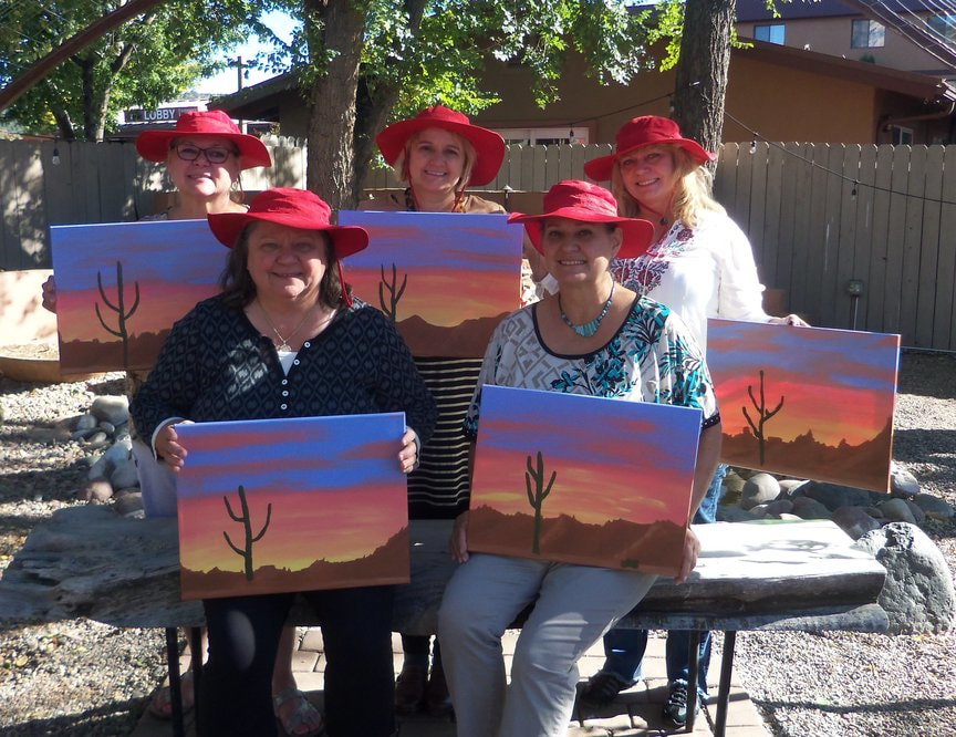 Sisters at Paint Along For Fun in Sedona