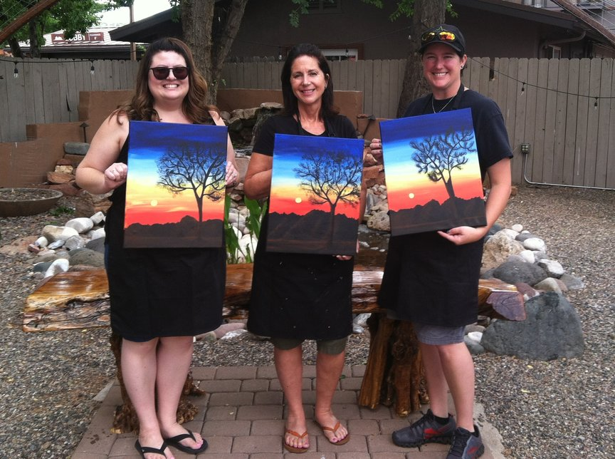 Having fun with painting brilliant skies in a Sedona landscape