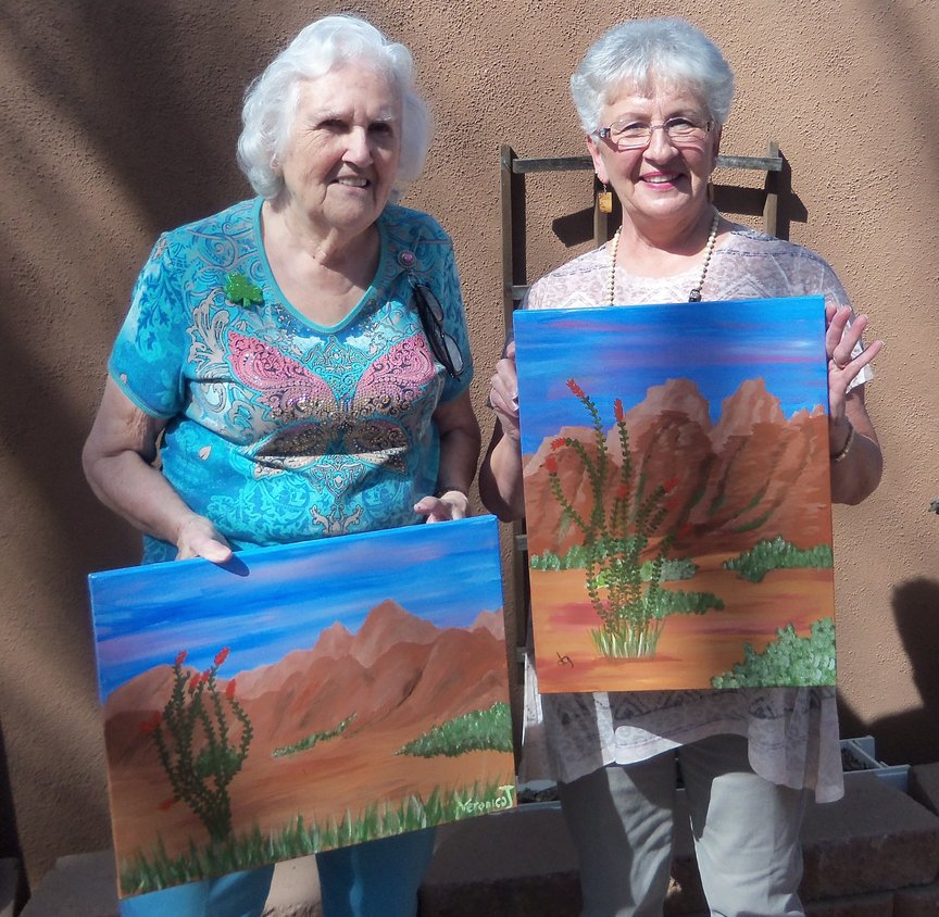 Painting at Vino Di Sedona monthly social painting class