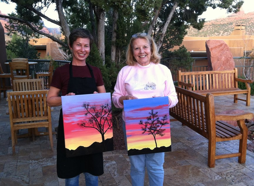 Afternoon of creative fun with paint Along for Fun at the Hyatt Pinon Pointe in Sedona