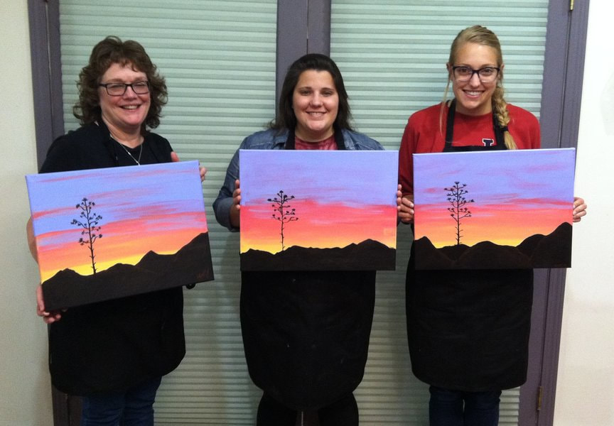 Painting Colorful Sunset Skies at Paint Along For Fun in Sedona