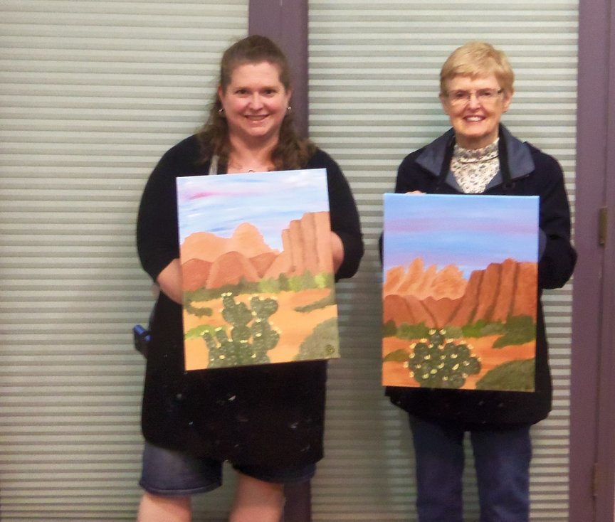 Creating a Sedona Memory at a Social Painting Class in Sedonaa