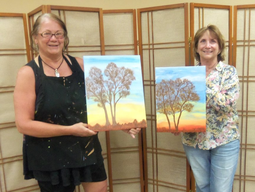 Friends Painting in Sedona with Paint Along For Fun