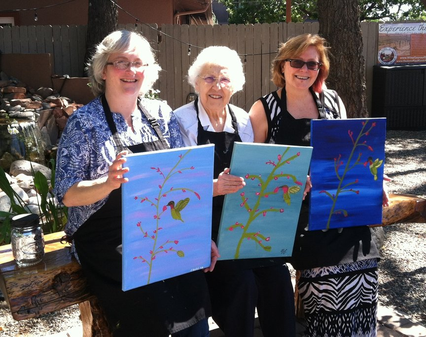 Relaxing and creating with Paint Along For Fun at Vino Di Sedona