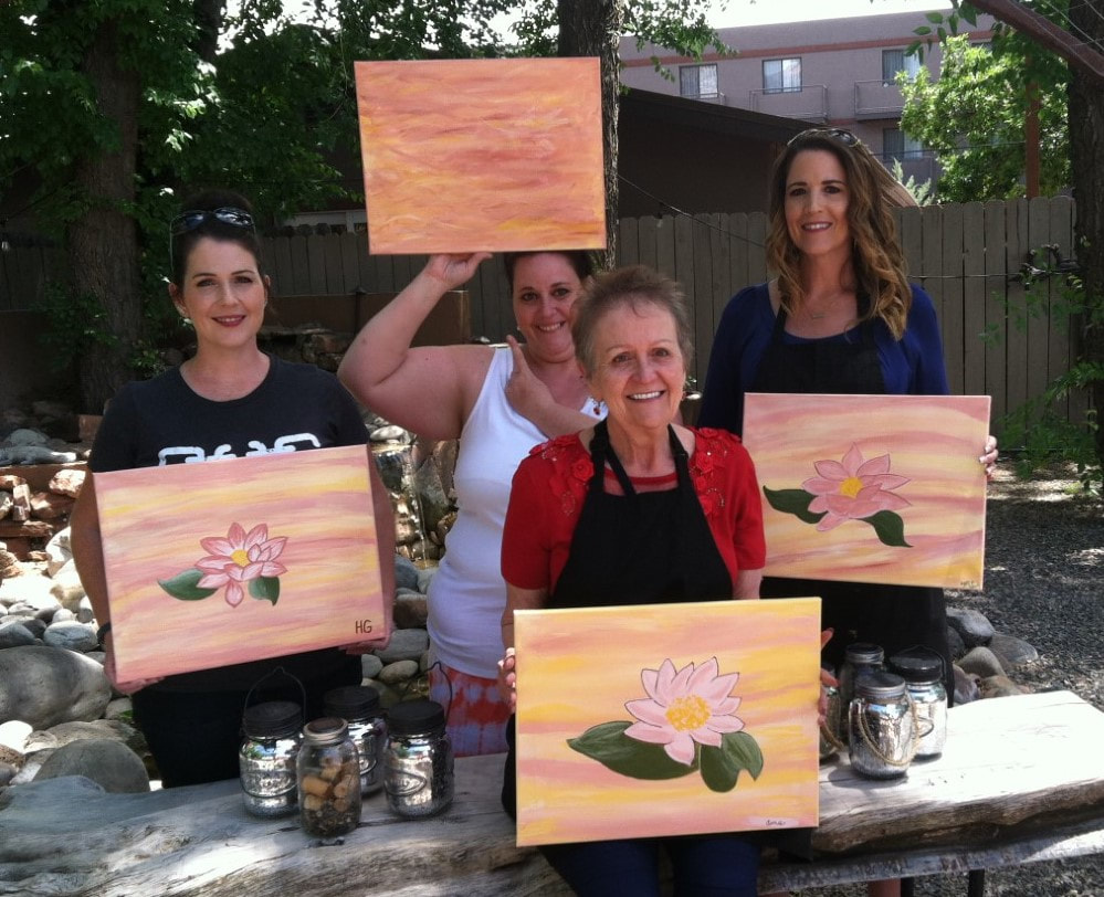 Mother and daughters have a first-time experience with Paint Along For fun